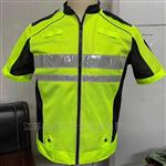 新款荧光黄短袖反光衣夹克式网布执勤反光服