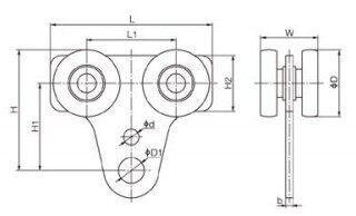ST型板式工具滑车结构尺寸图